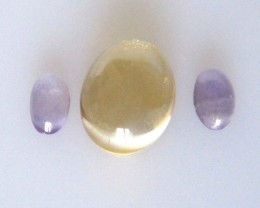 2.36cts Citrine and Amethyst Oval Cabochon Set 3pcs