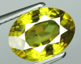 CERTFIED-3.25 Cts Lustrous Vivid Greenish Yellow Hue Natural Sphene