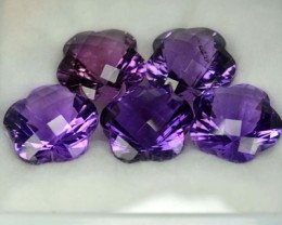 44.85 Cts Natural Purple Amethyst 5 Pcs Fancy Cut Bolivian Gem