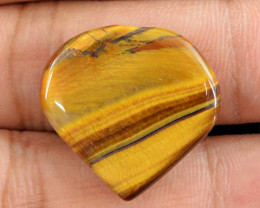 Genuine 19.05 Cts Heart Shaped Golden Tiger Eye Cab