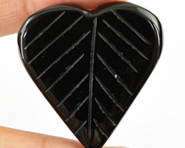 Genuine 56.10 Cts Heart Shaped Leaf Carved Black Onyx Cab
