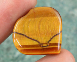 Genuine 17.20 Cts Heart Shaped Golden Tiger Eye Cab