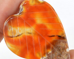 Genuine 45.70 Cts Heart Shaped Red Onyx Cab