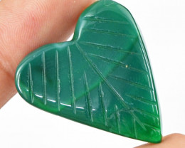 Genuine 31.95 Cts Heart Shaped Green Onyx Cab