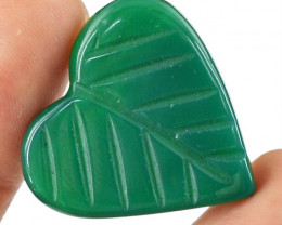 Genuine 30.35 Cts Heart Shaped Green Onyx Cab