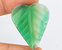 Genuine 25.40 Cts Heart Shaped Green Onyx Cab