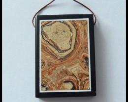 61Ct Spring Series,Jasper,Obsidian Intarsia Pendant Bead(B1804312)