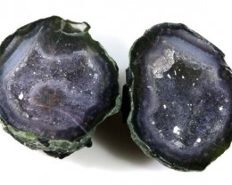 Untreated Crystalized Druzy Geode pair 14.75 cts ANGC-199