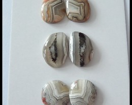 33ct Laguna Lace Agate Cabochons Pairs,3 Pairs