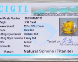 CERTIFIED~Natural 5.99 Ct Sparkle Titanite Sphene World Class Luster