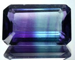 10.78 Cts Natural Bi Color Fluorite Octagon Cut Afghanistan Gem NR
