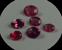 Rare Sri Lanka Rubies, 100% Natural Ovals, 6 pieces, No heat, No treat