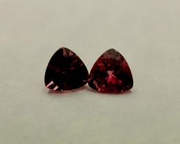 PINK TOURMALINE TRILLION  SHAPED PAIR