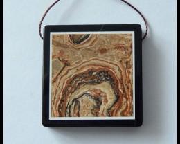 58.5 ct Natural Spot Jasper,Obsidian Intarsia Pendant Bead(B1804316)