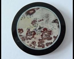 Natural Obsidian Chohua Jasper Shell,Serpentine Intarsia Gemstone Cabochon(