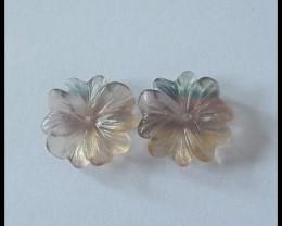 14Ct Natural Rainbow Fluroite Flower Beads Pair
