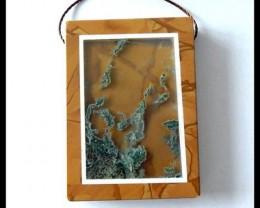 97.5CT Moss Agate ,Owyhee Jasper Intarsia Pendant Bead