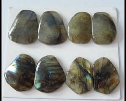 4 Pairs Labradorite Gemstone Cabochons Pairs,94.5ct