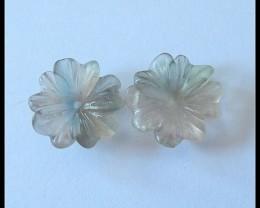 16 ct Natural Rainbow Fluorite Flower Beads Pair