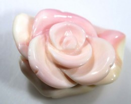 22.35 CTS CONCH SHELL ROSE CARVING HALF DRILLED LT-357