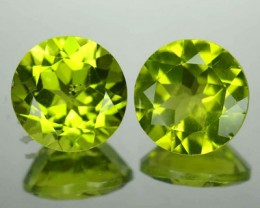 5.82 Cts Natural Pakistan Green Peridot 9mm Round 2 Pcs Gem NR