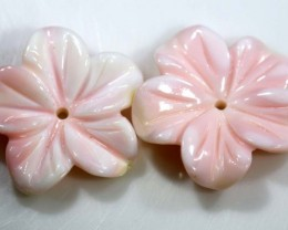 11.25 CTS CONCH SHELL FLOWER PAIR DRILLED LT-362