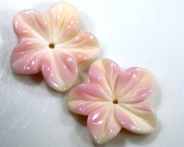 9.65 CTS CONCH SHELL FLOWER PAIR DRILLED LT-363