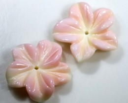 10.75 CTS CONCH SHELL FLOWER PAIR DRILLED LT-364
