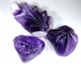 105 CTS AMETHYST CARVINGS 3 STONES LT-372