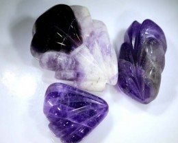 140 CTS AMETHYST CARVINGS 3 STONES LT-376