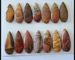 175.5 Ct 14 PCS Natural Multi Color Picasso Jasper Gemstone Cabochons Parce