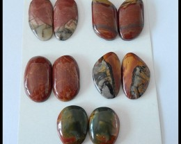 5 Pairs Multi Color Picasso Jasper Cabochons Pairs,157ct