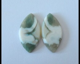 21ct Natural Ocean Jasper Cabochon Pair(C0057)