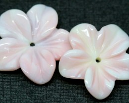 9.75 CTS CONCH SHELL FLOWER PAIR DRILLED LT-411