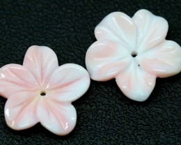 11.75 CTS CONCH SHELL FLOWER PAIR DRILLED LT-413