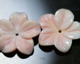10.95 CTS CONCH SHELL FLOWER PAIR DRILLED LT-415