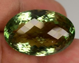 24.30 Cts Natural Green Prasiolite/Amethyst Oval Faceted Brazil Gem NR