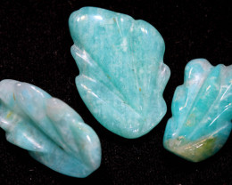 16.45 CTS AMAZONITE CARVINGS 3 STONES LT-433