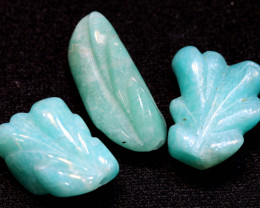 21.20 CTS AMAZONITE CARVINGS 3 STONES LT-438