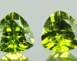 4.00 Cts.Magnificient Top Sparkling Intense Green Peridot 2 pcs