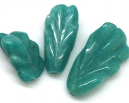 17.76 CTS AMAZONITE CARVINGS 3 STONES LT-502