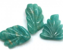15.14 CTS AMAZONITE CARVINGS 3 STONES LT-503