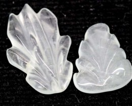 8.95 CTS AQUAMARINE CARVED LEAVES (2PC) LT-531