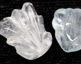 13.40 CTS AQUAMARINE CARVED LEAVES (2PC) LT-532