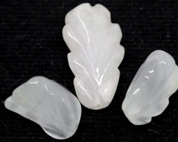 28.70 CTS AQUAMARINE CARVED LEAVES (3PC) LT-535