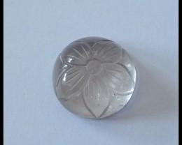 17Ct Smoky Quartz Flower carving Gemstone Cabochon