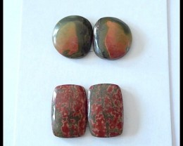 2 pair Natural Multi Color Picasso Jasper Cabochons Pairs