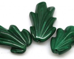 48.35 CTS MALACHITE CARVINGS 3 STONES LT-543