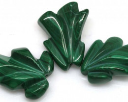 55.65CTS MALACHITE CARVINGS 3 STONES LT-544