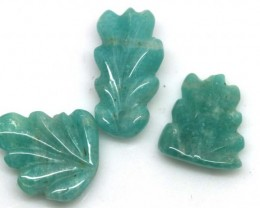 13.45 CTS AMAZONITE CARVINGS 3 STONES LT-549